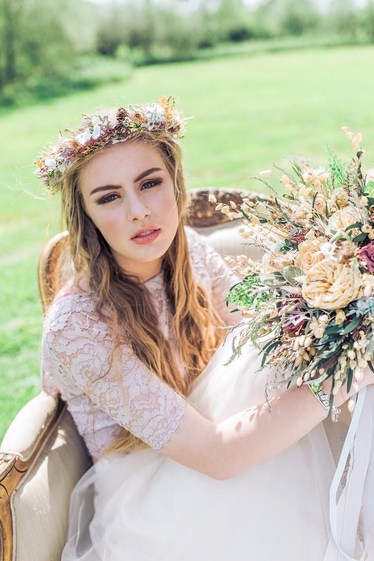 Bride Bridal Flower Crown Make Up Bohemian Natural Wedding Ideas http://www.sarahjanesphotography.com/