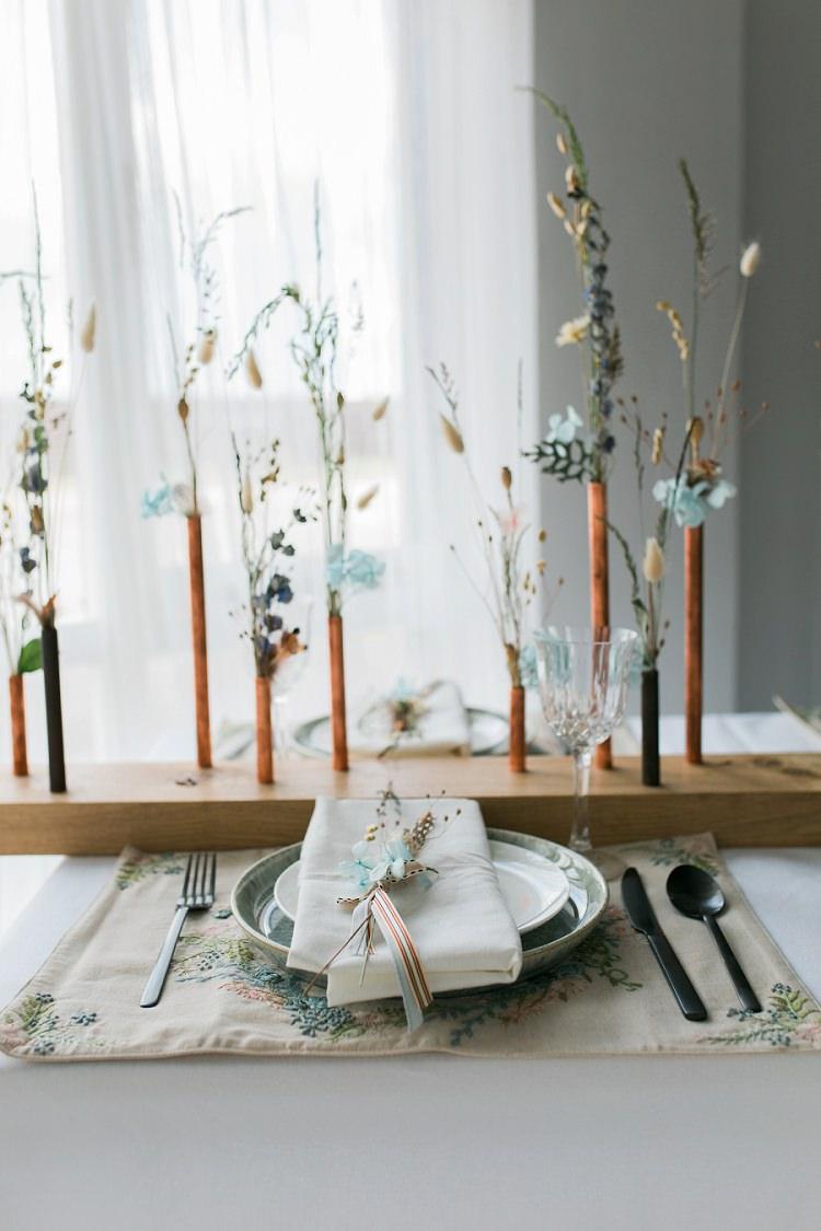 Decor Flowers Place Setting Tablescape Bohemian Natural Wedding Ideas http://www.sarahjanesphotography.com/