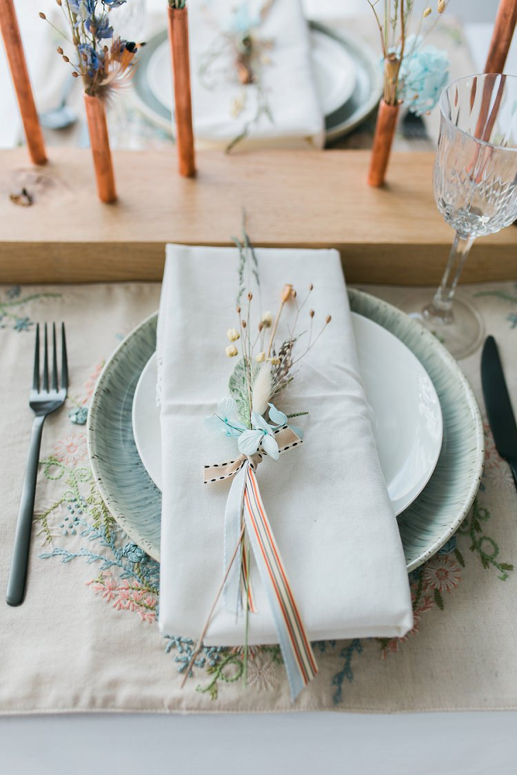 Flowers Place Setting Ribbon Plate Bohemian Natural Wedding Ideas http://www.sarahjanesphotography.com/
