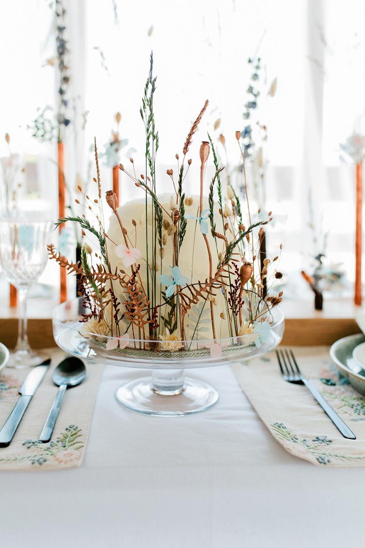 Rustic Buttercream Cake Dried Flowers Seeds Bohemian Natural Wedding Ideas http://www.sarahjanesphotography.com/