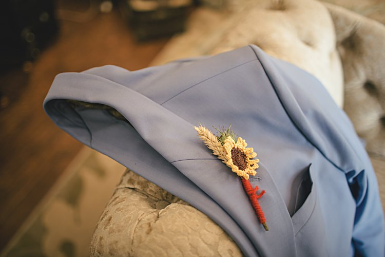 Kintted Sunflower Buttonhole Wheat Groom Colourful Home Made Vintage City Wedding http://kat-hill.com/