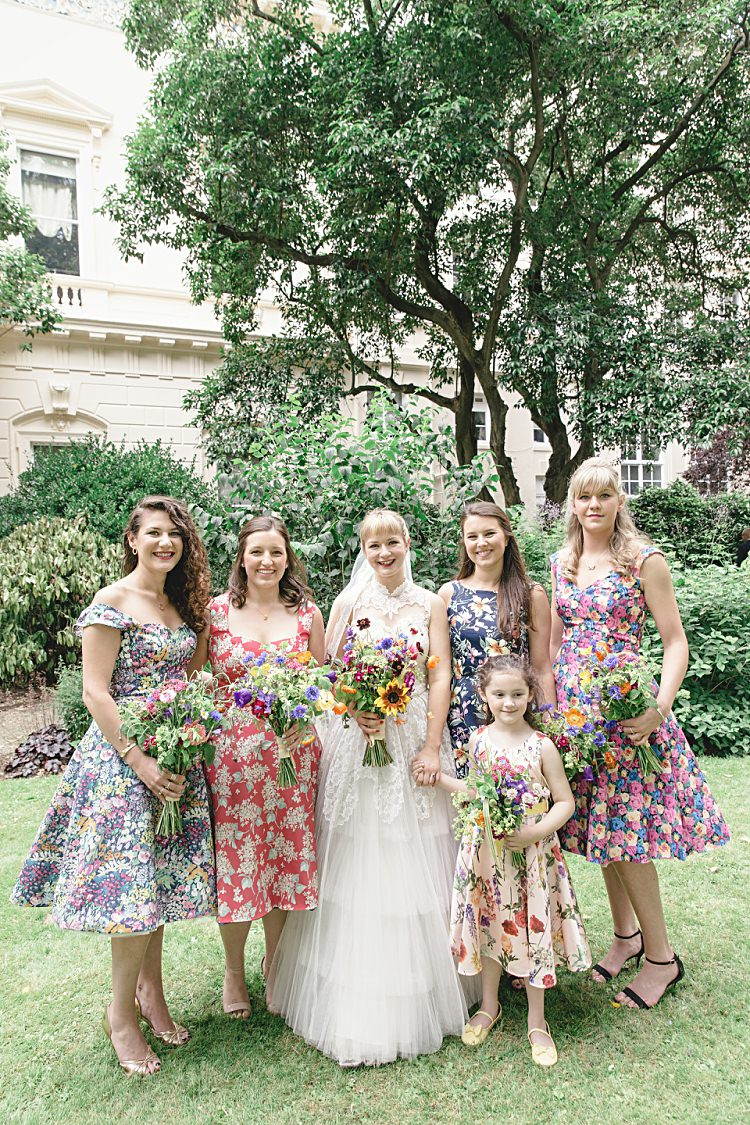 Floral Bridesmaid Dresses 50s Prom Colourful Home Made Vintage City Wedding http://kat-hill.com/