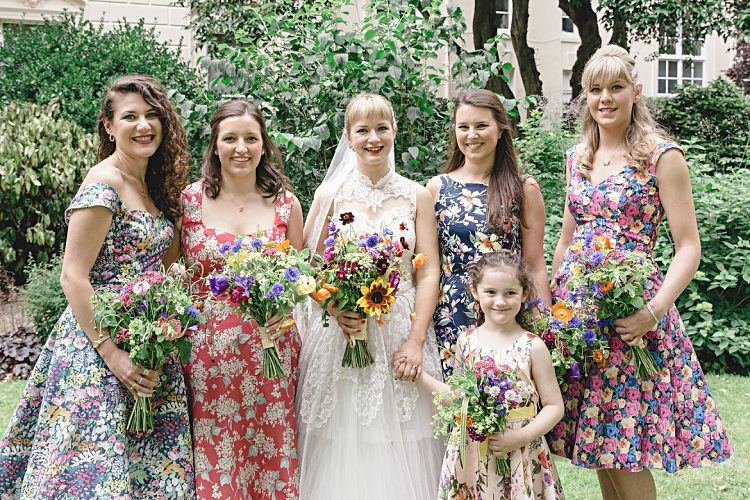 Floral Bridesmaid Dresses Prom 50s Colourful Home Made Vintage City Wedding http://kat-hill.com/
