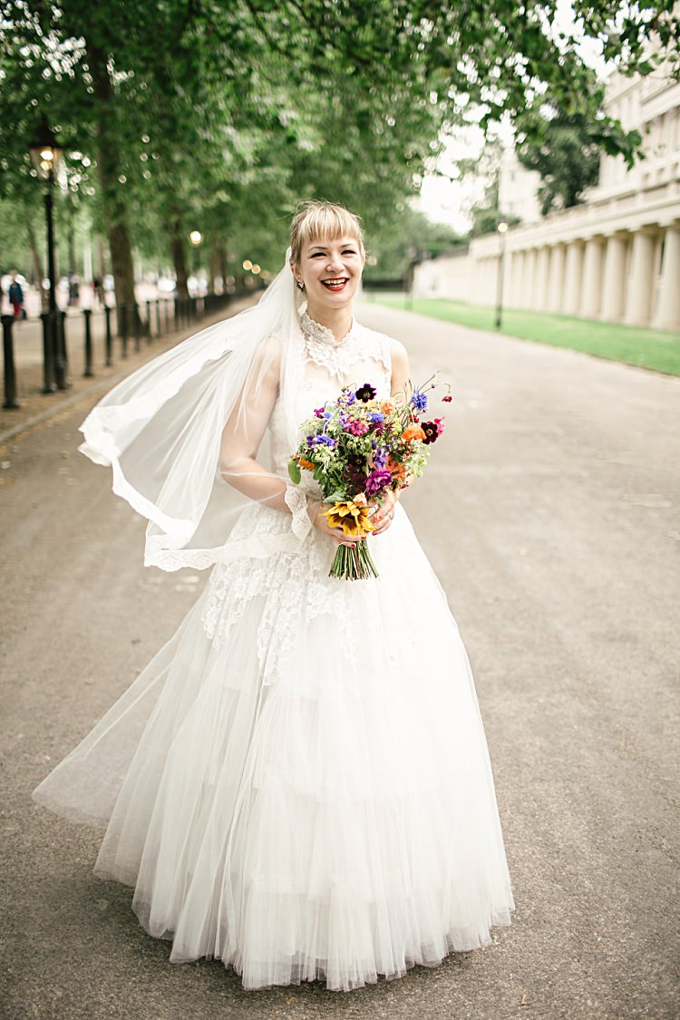 Dress Gown Bride Bridal 50s 1950s Lace Tulle Veil Colourful Home Made Vintage City Wedding http://kat-hill.com/