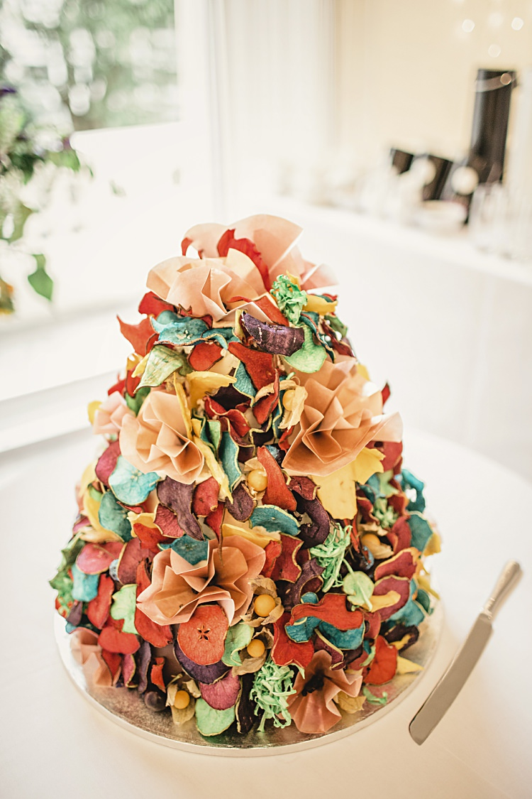 Rainbow Ruffle Cake Petals Colourful Home Made Vintage City Wedding http://kat-hill.com/