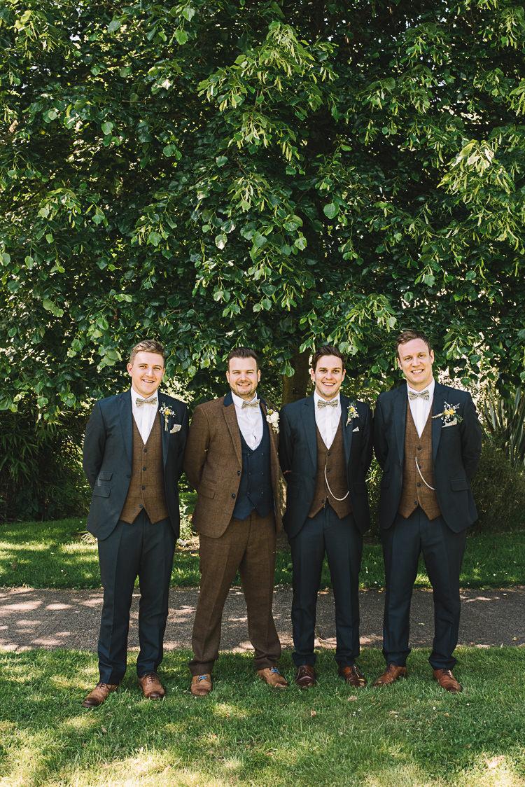 Groom Groomsmen Best Man Tweed Navy Brown Siuts Floral Bow Ties Style Outfits Rustic Boho Summer Tipi Wedding https://www.luciewatsonphotography.com/