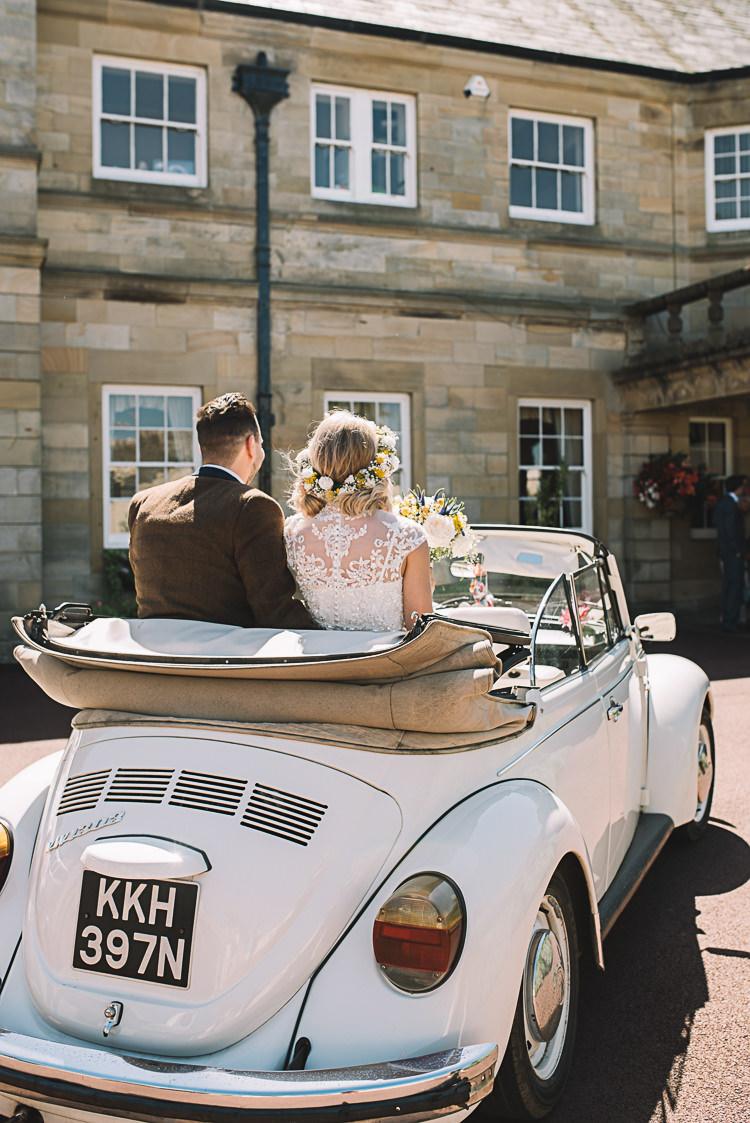 Beetle Car Transport Bride Groom Cream Vintage Rustic Boho Summer Tipi Wedding https://www.luciewatsonphotography.com/