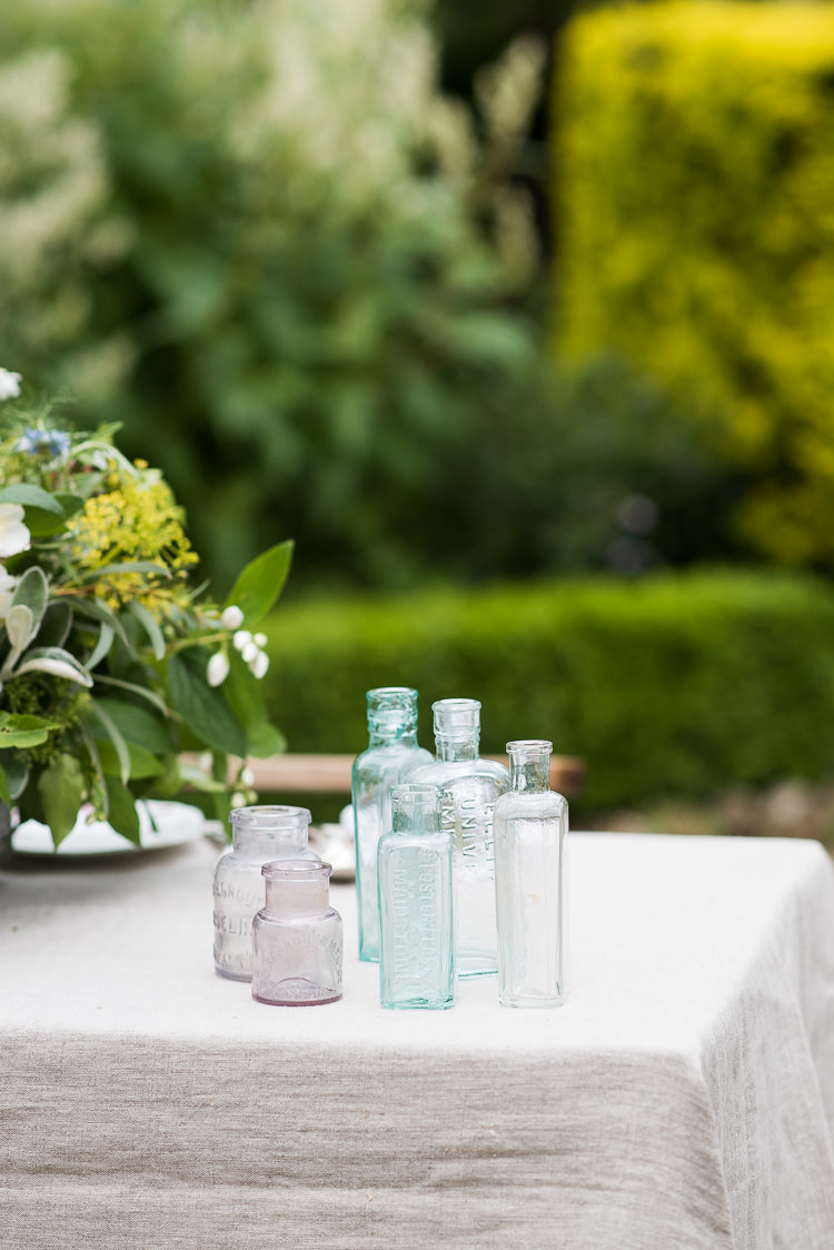 Linen Apothecary Bottles Glass Mismatched Pretty Urban Nature Wedding Ideas http://www.fionasweddingphotography.co.uk/