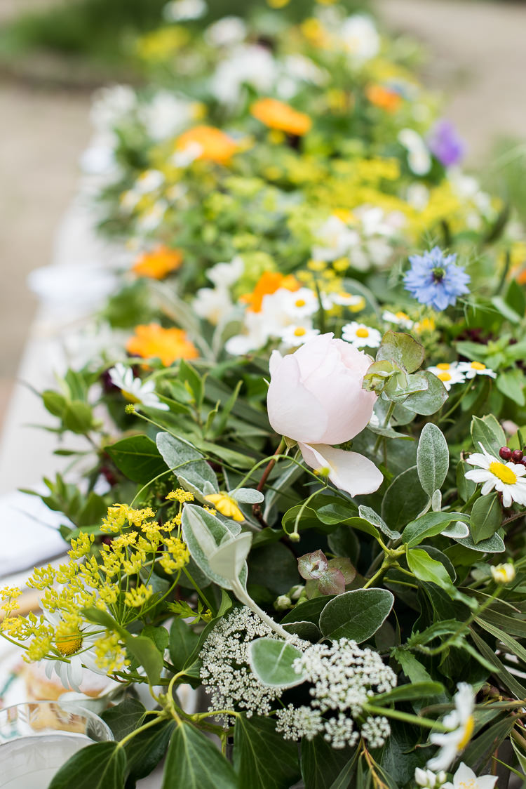 Sage Daisy Rose Michaelmas Gypsophila Flower Floral Trough Pretty Urban Nature Wedding Ideas http://www.fionasweddingphotography.co.uk/