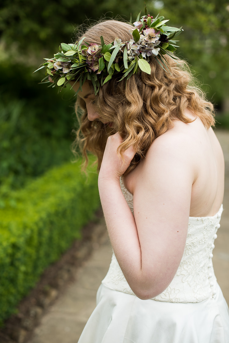 Bride Bridal Cathy Roberts Wedding Dress Gown Strapless Flower Crown Greenery Foliage Laurel Pretty Urban Nature Wedding Ideas http://www.fionasweddingphotography.co.uk/
