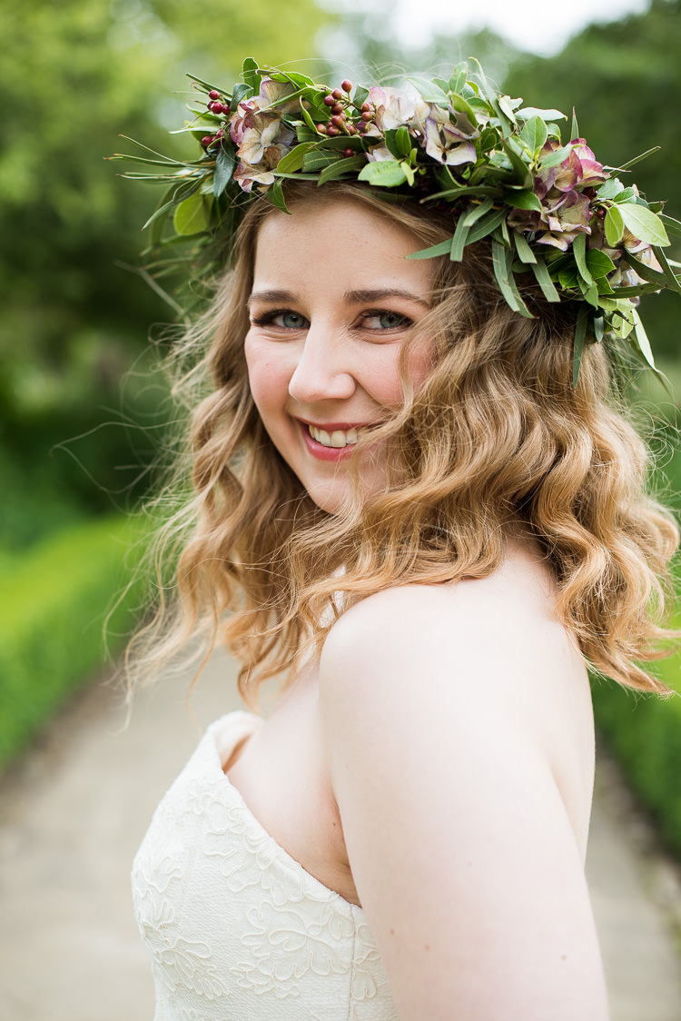 Bride Bridal Cathy Roberts Dress Gown Flower Crown Foliage Greenery Laurel Berries Pretty Urban Nature Wedding Ideas http://www.fionasweddingphotography.co.uk/