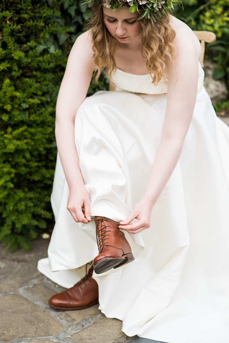 Bride Bridal Cathy Roberts Wedding Dress Gown Strapless Flower Crown Greenery Foliage Laurel Lace Up Boots Leather Pretty Urban Nature Wedding Ideas http://www.fionasweddingphotography.co.uk/