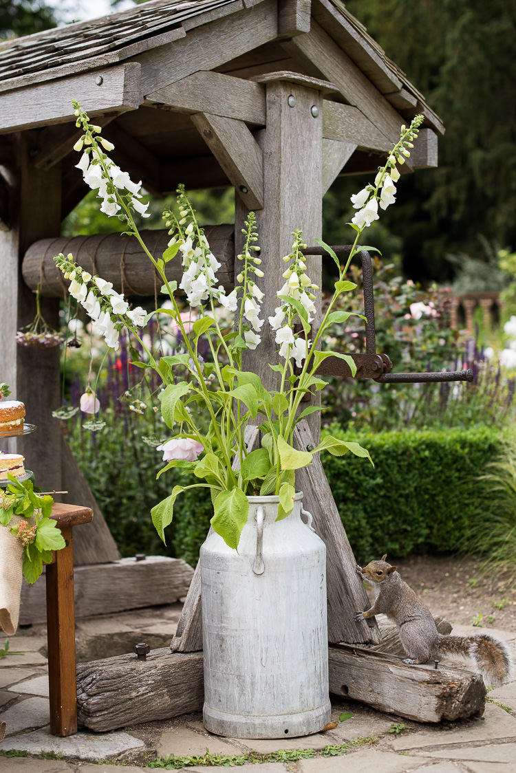 Metal Steel Milk Churn Flower Floral Foxglove White Pretty Urban Nature Wedding Ideas http://www.fionasweddingphotography.co.uk/