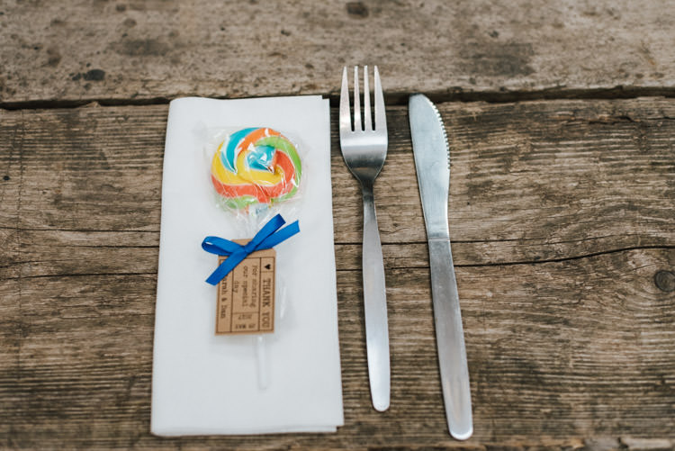 Lolly Place Setting Favour Whimsical Wedding Sea Rustic Barn http://sugarbirdphoto.co.uk/