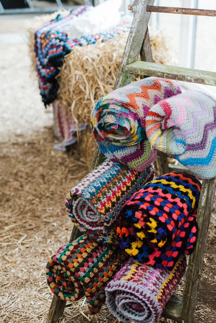 Knitted Blankets Crochet Ladder Whimsical Wedding Sea Rustic Barn http://sugarbirdphoto.co.uk/