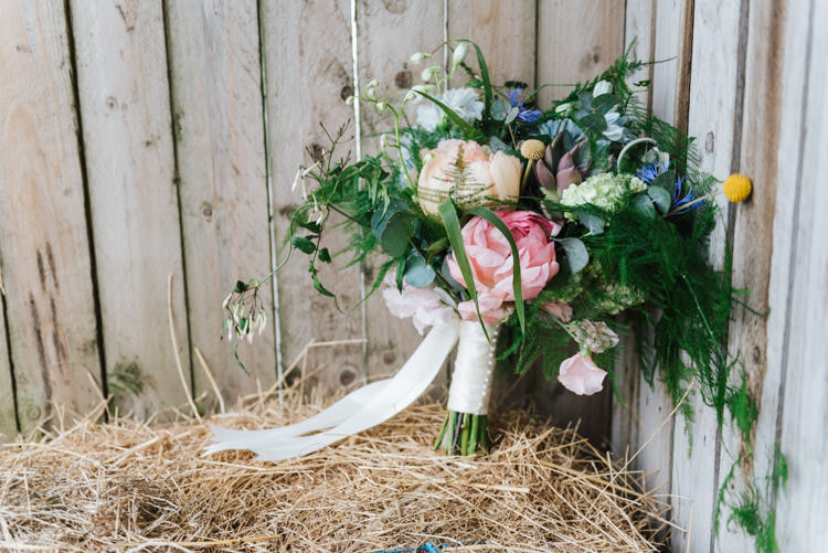 Bouquet Ribbon Flowers Bride Bridal Peony Billy Ball Whimsical Wedding Sea Rustic Barn http://sugarbirdphoto.co.uk/