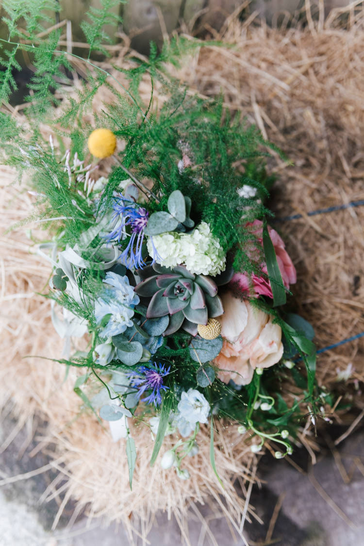 Bouquet Flowers Bride Bridal Billy Ball Succulent Peony Whimsical Wedding Sea Rustic Barn http://sugarbirdphoto.co.uk/