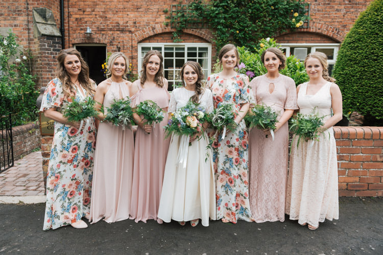 Whimsical wedding by the sea a rustic barn reception whimsical floral pink mismatched bridesmaid dresses long maxi whimsical wedding sea rustic barn http junglespirit Image collections