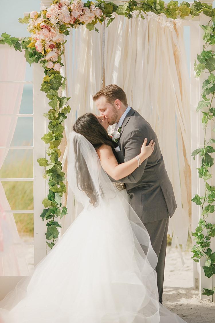 Bride Groom Kiss Whimsical Pastel Key West Beach Wedding http://kristenbooth.net/