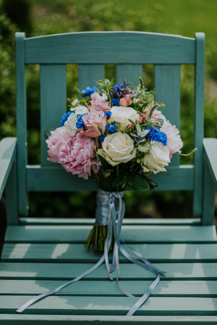 Peony Rose Pink Bouquet Ribbon Bride Bridal Enchanting Cornflower Blue Marquee Wedding https://burfly.co.uk/