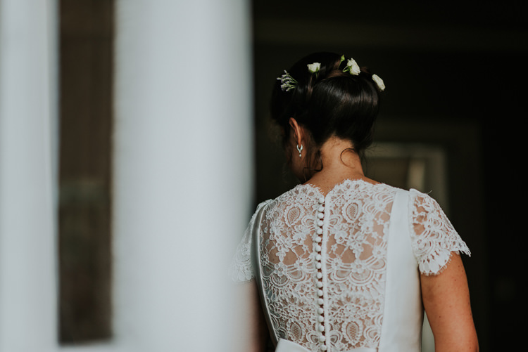 Pronovias Dress Gown Bride Bridal Cap Sleeves Lace Button Back Enchanting Cornflower Blue Marquee Wedding https://burfly.co.uk/