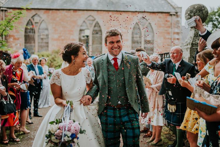 Confetti Throw Bride Groom Enchanting Cornflower Blue Marquee Wedding https://burfly.co.uk/