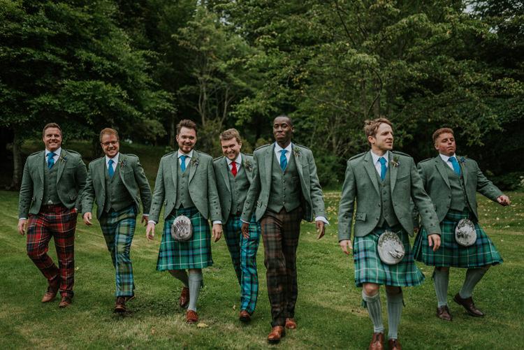 Tartan Groomsmen Tweed Jackets Enchanting Cornflower Blue Marquee Wedding https://burfly.co.uk/