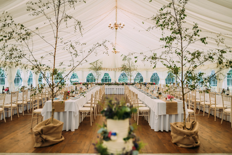 Trees Decor Enchanting Cornflower Blue Marquee Wedding https://burfly.co.uk/