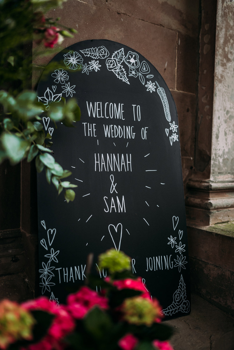 Chalk Black Board Welcome Sign Enchanting Cornflower Blue Marquee Wedding https://burfly.co.uk/