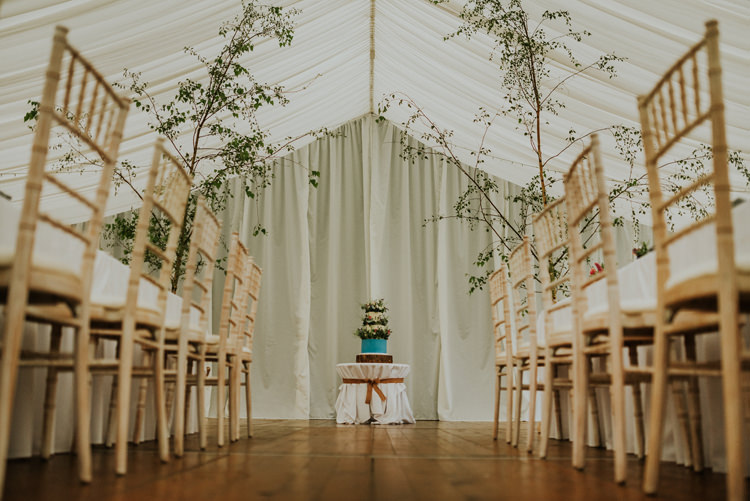 Trees Cake Table Enchanting Cornflower Blue Marquee Wedding https://burfly.co.uk/