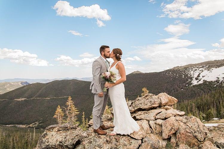 Bride Groom Kiss Scenic Rocky Mountain National Park Elopement http://allisonslaterphotography.com/