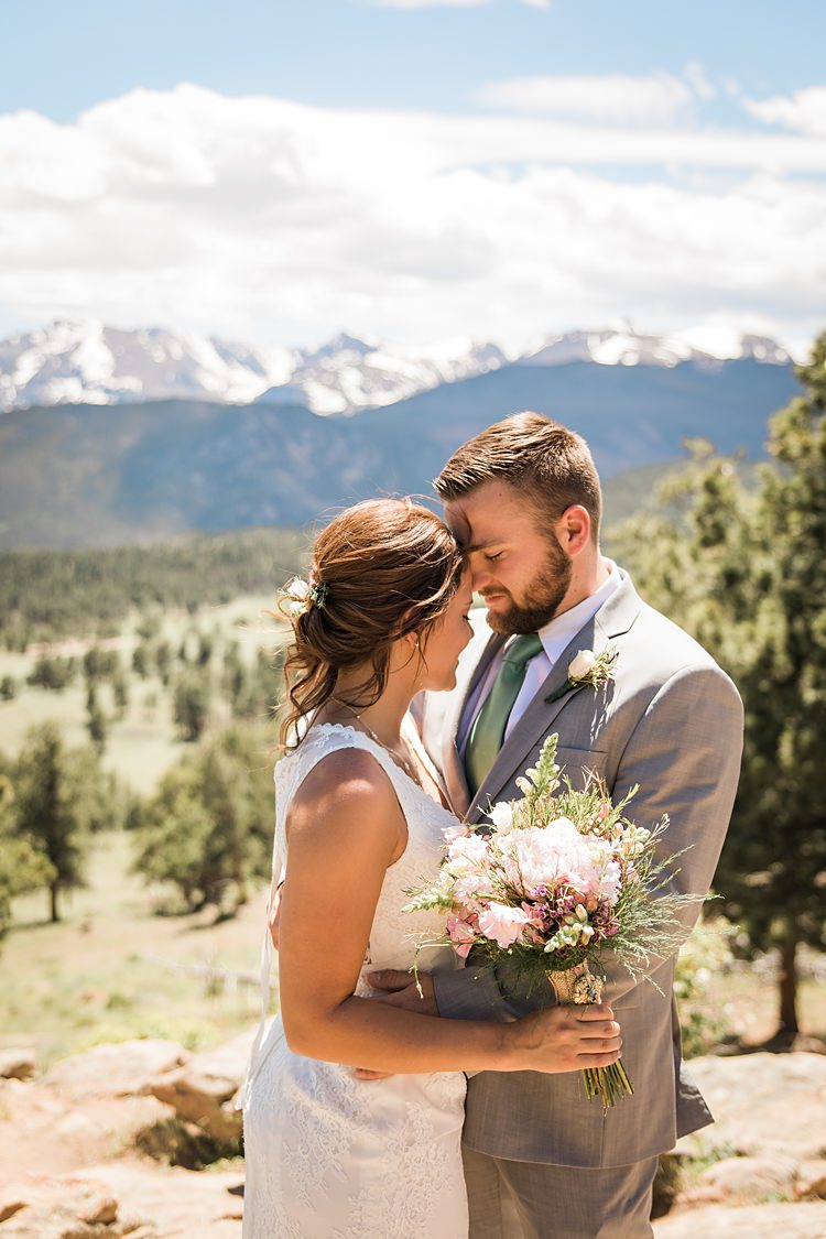 Bride Groom Close Scenic Rocky Mountain National Park Elopement http://allisonslaterphotography.com/