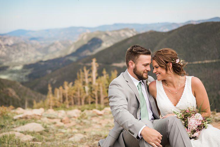 Bride Groom Sitting Scenic Rocky Mountain National Park Elopement http://allisonslaterphotography.com/