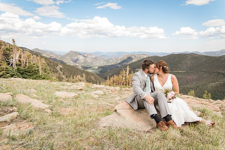 Bride Groom Sitting Kiss Scenic Rocky Mountain National Park Elopement http://allisonslaterphotography.com/