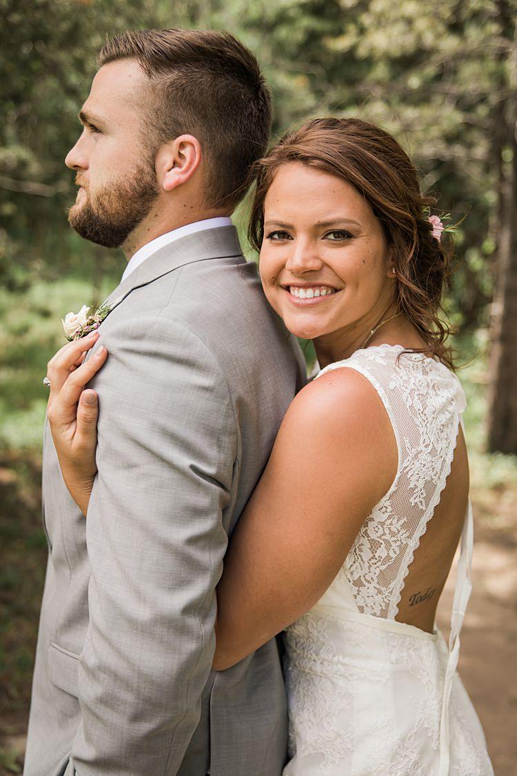Bride Groom Hug Scenic Rocky Mountain National Park Elopement http://allisonslaterphotography.com/