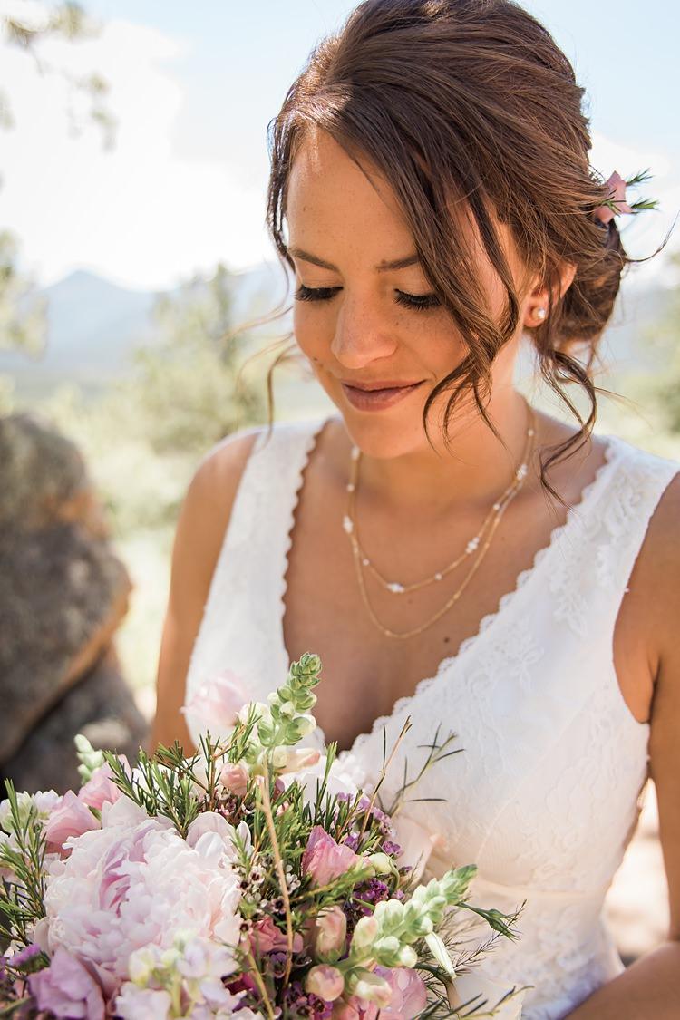 Bride Closeup Bouquet Scenic Rocky Mountain National Park Elopement http://allisonslaterphotography.com/