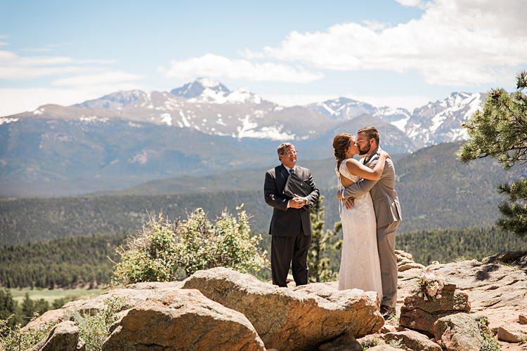 Ceremony Kiss Scenic Rocky Mountain National Park Elopement http://allisonslaterphotography.com/