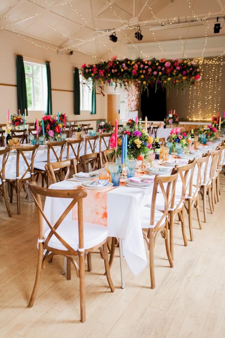 Long Tables Decor Hall Colourful Whimsical Unicorn Rainbow Wedding http://clairemacintyre.com/