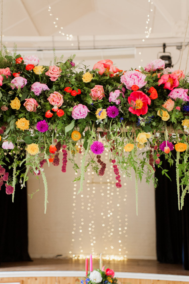 Hanging Flowers Arch Backdrop Whimsical Unicorn Rainbow Wedding http://clairemacintyre.com/