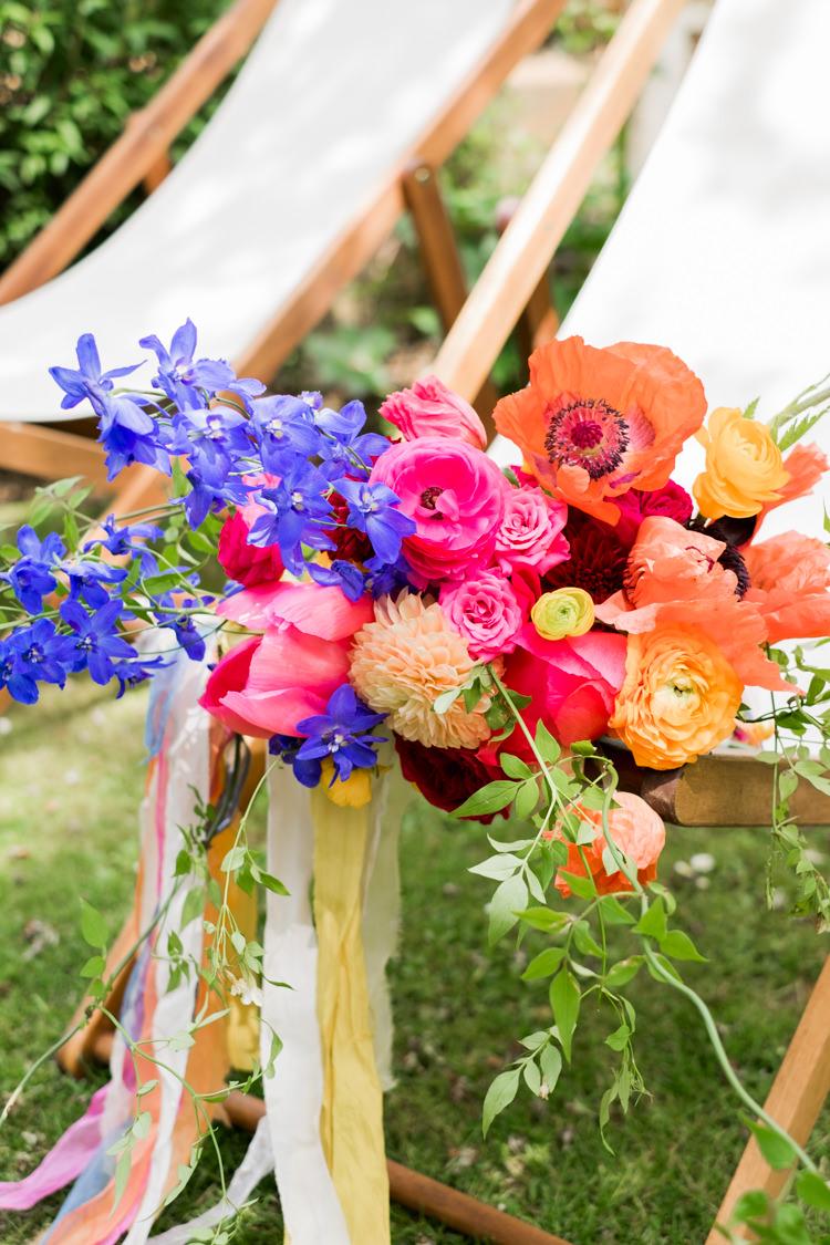 Bouquet Flowers Poppy Ribbon Dahlia Peony Whimsical Unicorn Rainbow Wedding http://clairemacintyre.com/