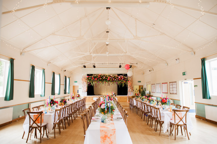Village Hall St Ippolyts Hertfordshire Whimsical Unicorn Rainbow Wedding http://clairemacintyre.com/