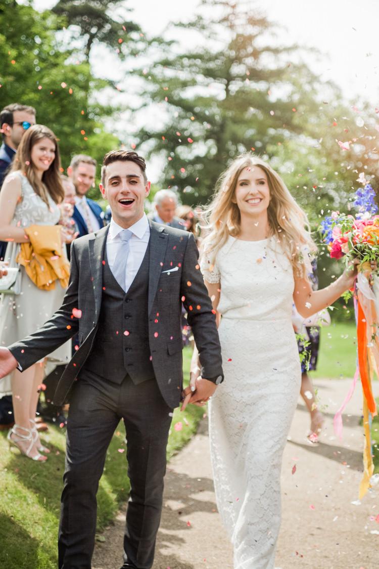 Confetti Throw Whimsical Unicorn Rainbow Wedding http://clairemacintyre.com/