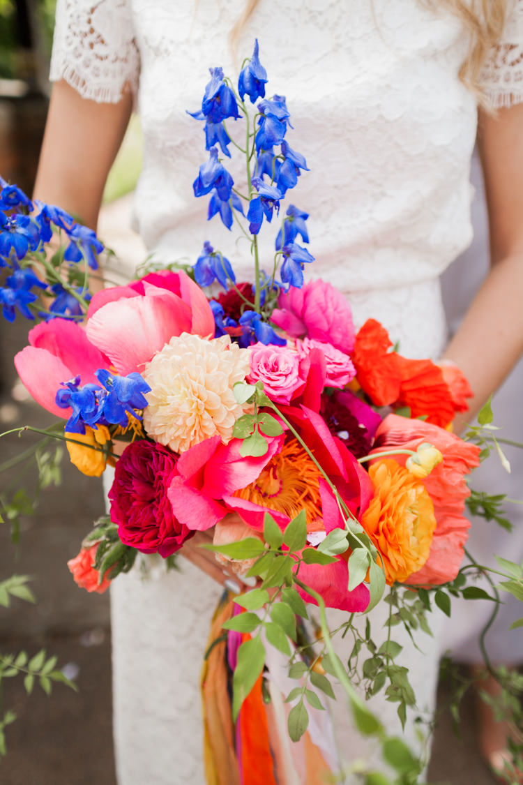 Bouquet Flowers Colourful Peony Dahlia Rose Pink Blue Orange Whimsical Unicorn Rainbow Wedding http://clairemacintyre.com/