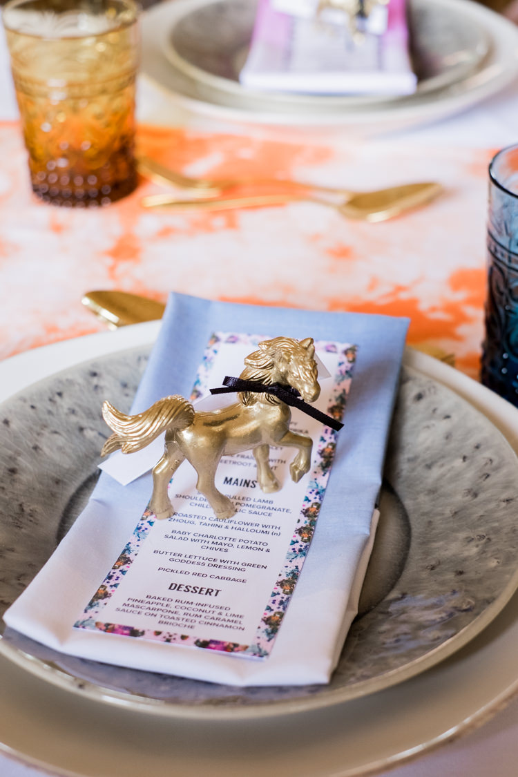 Gold Painted Unicorn Decor Table Whimsical Unicorn Rainbow Wedding http://clairemacintyre.com/