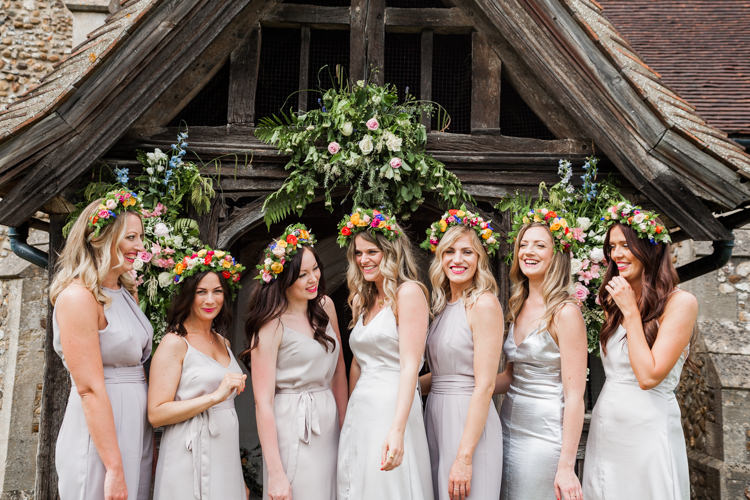 Flower Crown Bridesmaids Whimsical Unicorn Rainbow Wedding http://clairemacintyre.com/