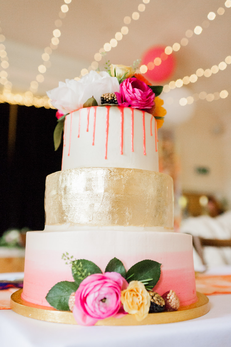 Cake Drop Gold Ombre Flowers Whimsical Unicorn Rainbow Wedding http://clairemacintyre.com/