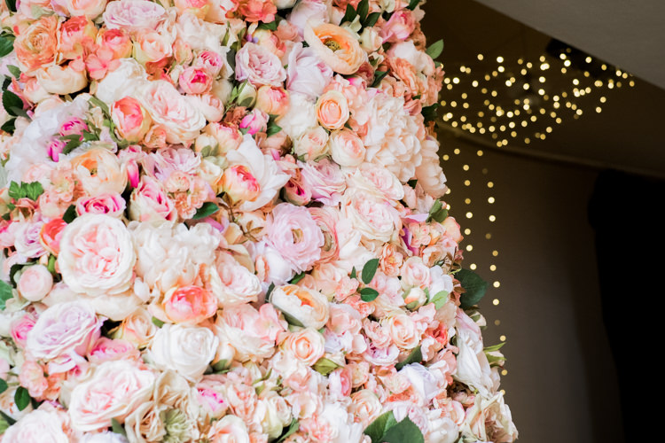 Flower Wall Pink Rose Peony Whimsical Unicorn Rainbow Wedding http://clairemacintyre.com/