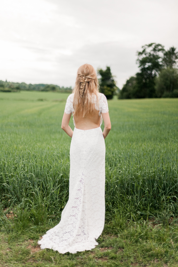 Open Back Lace Dress Gown Bride Bridal Train Whimsical Unicorn Rainbow Wedding http://clairemacintyre.com/