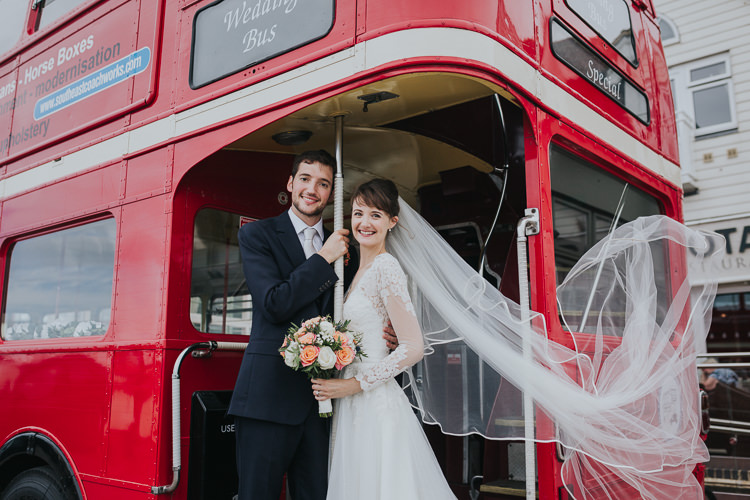 Red Double Decker Bus Transport Colour Pop Coral Beach Wedding http://www.kategrayphotography.com/