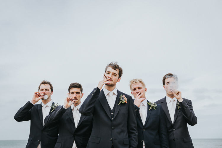 Groom Groomsmen Black Suits White Ties Colour Pop Coral Beach Wedding http://www.kategrayphotography.com/
